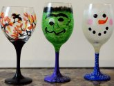 Holiday Painted Wine glasses
