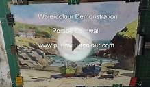 Learn to paint a blue sea, boats, harbor, cornwall