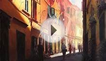 Sunlit Alleyway in Italy - original oil painting by
